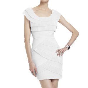 BCBGMAXAZRIA White Tiered Pleated Cocktail Dress